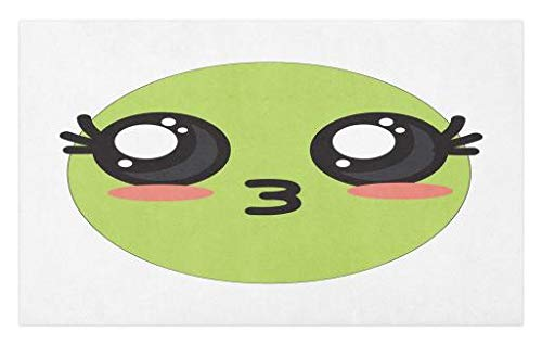 Lunarable Kawaii Doormat, Happy Smiley Face Blowing Kisses