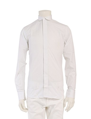(ディオールオム) Dior HOMME シャツ ストライプ 白 ネイビー ラウンドカラー 9E3152340963  中古 B07FT96LZP  -