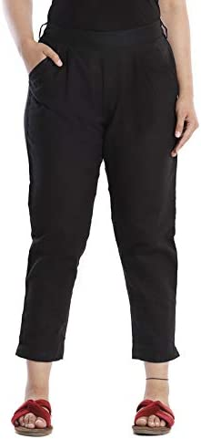 Wear Zone Women's Tapered Fit Cotton Casual Trouser Pants|Girls Formal Trousers for Office|Cotton Trouser Pants for Women Ankle Length|Casual Trousers for Women Under 300