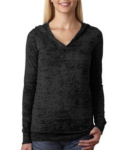 Next Level Womens Burnout Hoodie (6521) -BLACK ()