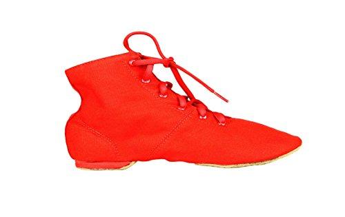 Unisex Ballet Tanzschuhe Toe weiche Erwachsene Reine Canvas Ballettschuh Rot Schnürschuhe Jazzschuh XfqFwXrx