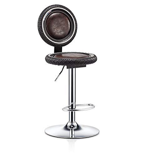 DONGYUER Iron Art Barstool, Bar Bar Counter Backrest Chair Simple Retro High Stool Bar Stool Bar Chair,A