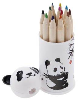 (Chinese Art / Chinese Gifts / Chinese Gifts for Children / Kids: 12 Colored Pencil and Panda Shapener Set)