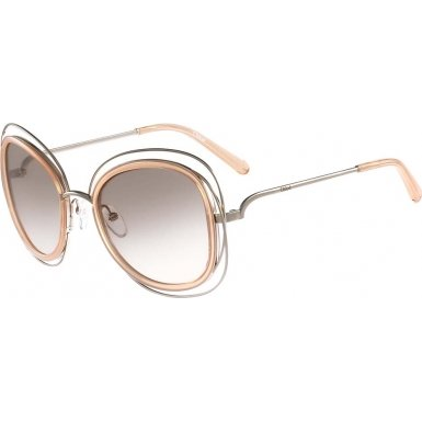 Chloe Women's Carlina Gold/Transparent Peach Sunglasses by Chloe