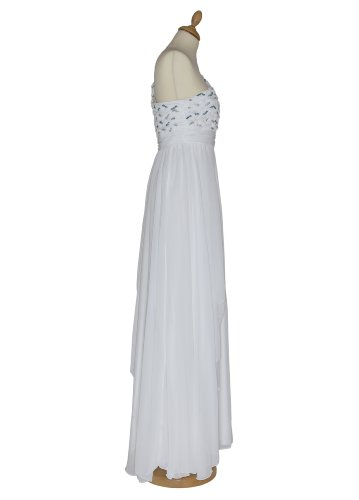 Langes one shoulder Chiffon Abendkleid 2634 mit Stola creme Gr. 34 - 44