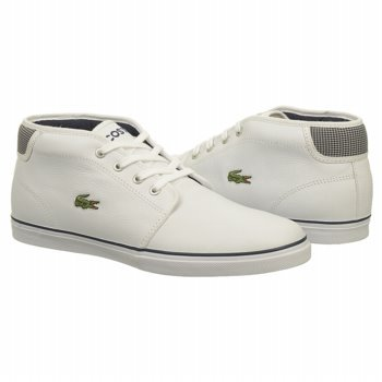 Lacoste Heren Ampthill Mts Witte / Donkerblauwe Mid-top Mode Sneakers Wit / Donkerblauw