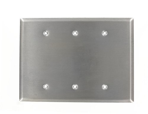 (Leviton 84133-40 3-Gang No Device Blank Wallplate, Oversized, Box Mount, Stainless Steel)