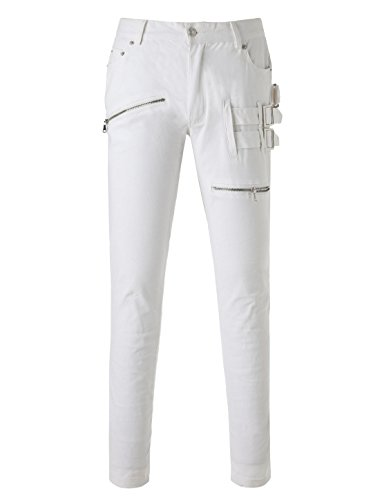 uxcell Men Zipper Buckle Embellished Five Pockets Casual Pants XS White