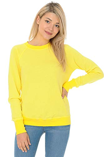 (YURO-K Women's Premium Long Sleeve Crew Neck Vintage Raglan Sweatshirt Pullover X-Small - X-Large (Medium, Yellow))