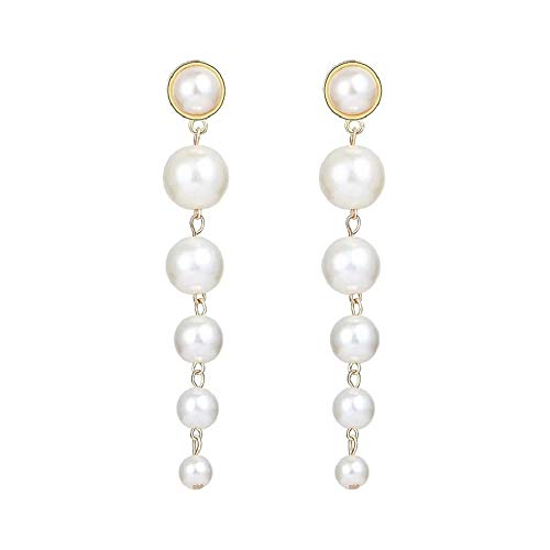 (Silver Plated Long Dangle Spiral Women White Pearl Bridal Fashion Earring y Necklance Cocktail Engagement (gold dangle tassel pearl earrings))