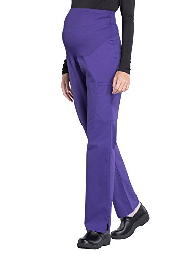 Cherokee Workwear Professionals WW220 Women's Maternity Soft Knit Waistband Scrub Pant, Grape, X-Large Tall