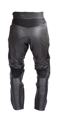 Mens Motorcycle Black Leather Pants with CE Rated 4 Piece Armor PT55 (M) by Xtreemgear (Image #2)'