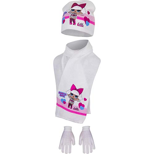 L.O.L Surprise Hat,Glove & Scarf 3 Pieces Winter Set For Girls with Glitter Print (Off White)