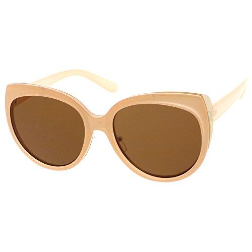 sunglassLA - Oversize Cat Eye Metal Trim Round Flat Lens Sunglasses 57mm (Peach Gold / - Glasses Peach Colored