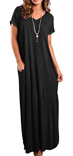 long black maxi dress with short sleeves - 9