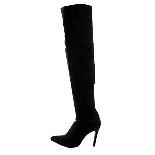Breckelles Beverly-16 Dames Faux Suede Puntige Neus Stiletto Hak Over De Knie Dij Hoge Laars Zwart