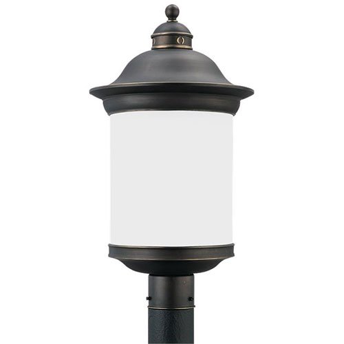 Sea Gull Lighting 89298BL-71 Hermitage - One Light Outdoor Post Lantern, Antique Bronze Finish with Frosted Glass
