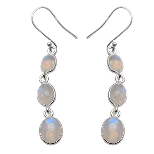 Silver Palace Sterling Silver Handmade and Natural Rainbow Moonstone Earring for Womens and - Dangle Moonstone