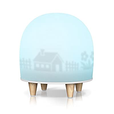 Night Lights for Kids, Bedside Lamp Breathing Decorative Mood Lamp with Breakage Resistant Silicone, Sensitive Tap Control, Adjustable Brightness RGB Color and Lovely Theme for Baby Nursery, Bedroom