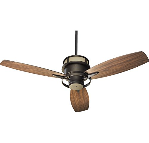 Amber Bronze Downrods (Quorum International 54543-86 Bristol 54-Inch Ceiling Fan, Oiled Bronze Finish with Amber Scavo Up Glass and Walnut Blades)
