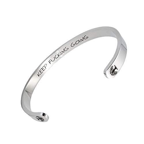 BRAVE NEW Silver Stainless Steel Bracelet Tree of Life Keep Going Cuff Bracelet Inspirational Gift for Women&Men (Stainless Steel Life)