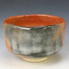 Kiyomizu-kyo yaki ware. Japanese aka raku Matcha chawan teabowl with paper box. Ceramic. kymz-TSA354