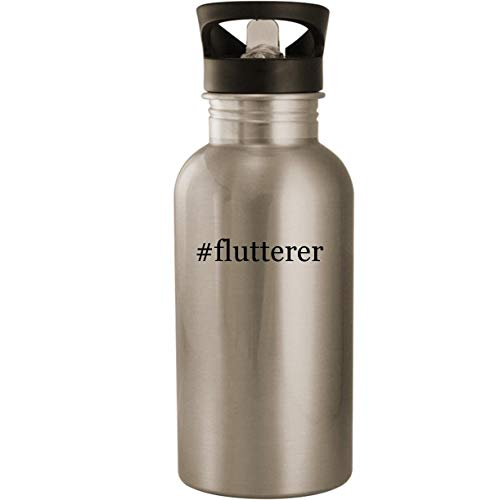 #flutterer - Stainless Steel Hashtag 20oz Road Ready Water Bottle, Silver