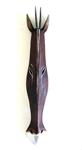 (OMA African Giraffe Mask Antelope Wall Hanging Decor Wood Carved Giraffe African Safari Decor HUGE SIZE 40