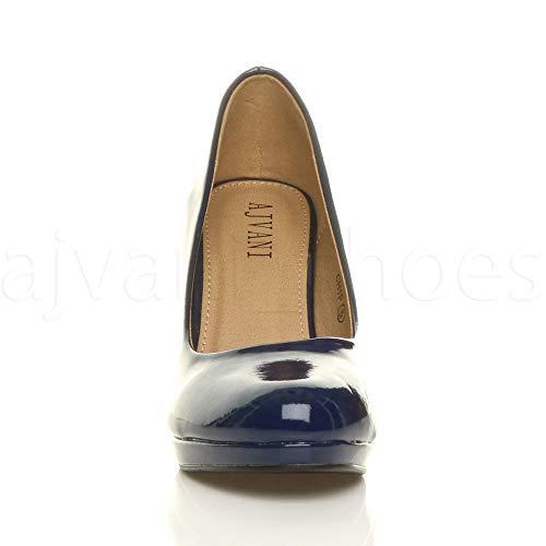 Simple Moyen Femmes Pointure Talons Escarpins Soirée Hauts Bleu Marine Chaussures Verni Élégant wXrREXq