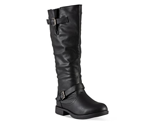 Twisted Women's Amira Wide Width, Wide Calf Knee-High Riding Boot- Black, Size -