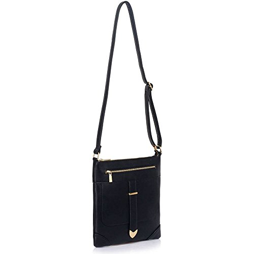 TrendStar - Bolso bandolera Mujer A-Black Cross Body Bag