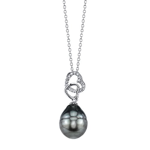 Tahitian South Sea Cultured Pearl & Crystal Heart Pendant (Tahitian Pearl Heart)