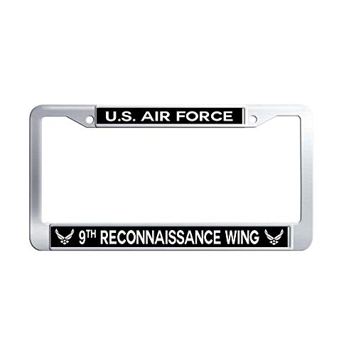 """GumiHolders US Air Force 9th Reconnaissance Wing Auto License Plate Frame, Waterproof Metal Stainless Steel License Plate Frame(12.25""""x6.25"""")"""