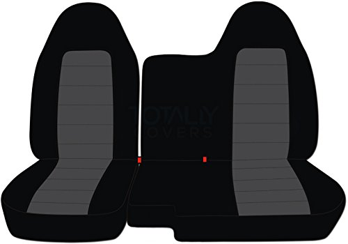 (1998-2003 Ford Ranger/Mazda B-Series Two-Tone Truck Seat Covers (60/40 Split Bench) - No Armrest/Console: Black and Charcoal (21 Colors) 1999 2000 2001)
