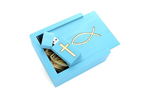 Sign of the Fish - Christian/Jesus - USB 8GB - Flash Drive with box - White Ash Veneer Ichthys Fish inserted in a Sea Blue Wood Wash Maple Box with matching drive and cross.