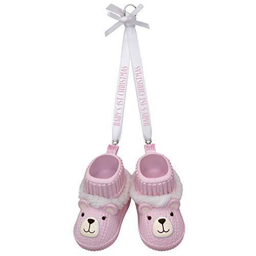 Hallmark Keepsake Ornament 2019 Year Dated Baby Girl's First Christmas Pink Teddy Bear Booties (Christmas Granddaughter's First)