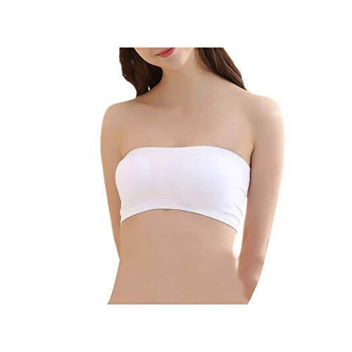(diwollsam Crop Top Chest Wrap, Women's Stretch Soft Breathable Cozy Strapless Basic Solid Color Tub Bra with Removable Padding for Wedding Beach Swimming 1 Pack, White)