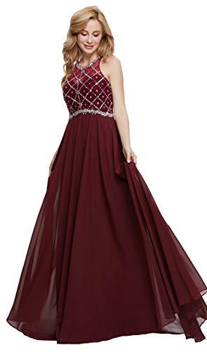 Firose Women's Long Prom Dresses 2019 Scoop Neckline Beaded A Line Formal Dress 14 Burgundy -