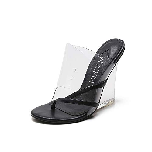 MACKIN J 405-2 Women's TPU Lucite Clear Wedge Heel Open Toe Slip On Mule Dress Shoe (7.5, Black)