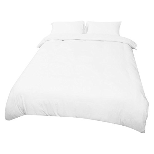 uxcell Modern Bedding Sets Wrinkled Washed Cotton Soft Natural 3 Pieces Solid Duvet Cover Set, Includes 1 Comforter Cover 2 Pillow Shams White, Single ()