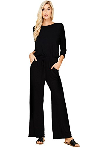 Annabelle Women's Boat Neck One Piece Romper Long Sleeve Workout Jumpsuit Black Medium J8057