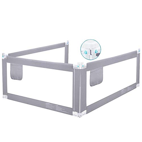(CQILONG-Bed rail 3-Side Protection 5-Speed Adjustment Invisible Single Button Easy to Operate Soft Fabric, 2 Colors, 4 Sizes (Color : Gray, Size : 200x150x88cm))