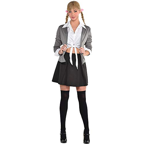 Party City 90's School Girl Halloween Costume Kit for Adults with Skirt, Sweater and More, One Size, 4 ()