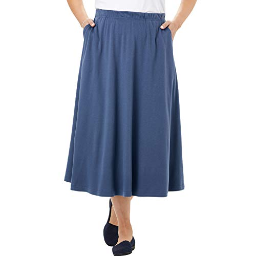 Woman Within Women's Plus Size Petite 7-Day Knit A-Line Skirt - Light Indigo, 6XP