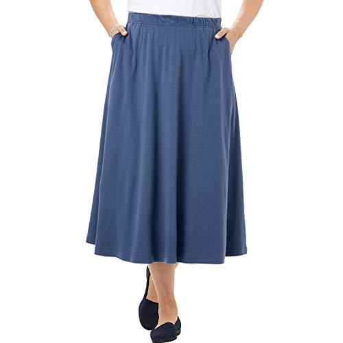 Woman Within Women's Plus Size 7-Day Knit A-Line Skirt - Light Indigo, 1X