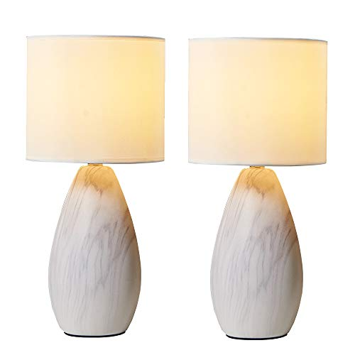 Wtape Ceramic Base Bedside Table Lamp Set of Two with White Fabric Lampshade for Bedroom Nightstand, Living Room, Study Room, Oval