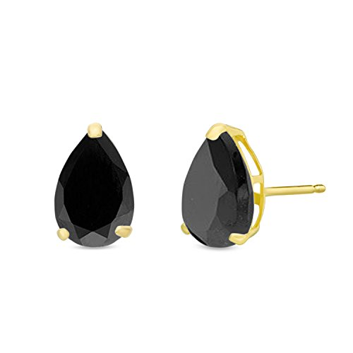 7x5MM Pear Shaped Natural Black Onyx 14K Yellow Gold Stud Earrings