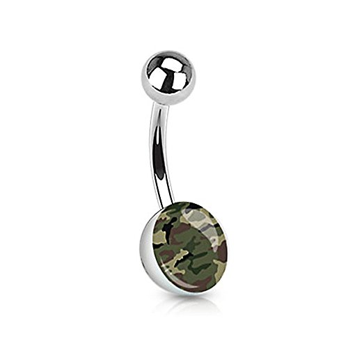 Green Brown Camouflage Print Inlayed 316L Surgical Steel Navel Belly Ring