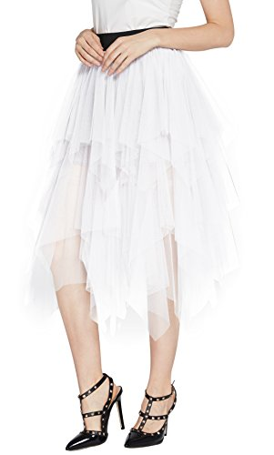 Urban CoCo Women's Sheer Tutu Skirt Tulle Mesh Layered Midi Skirt (S, White) from Urban CoCo