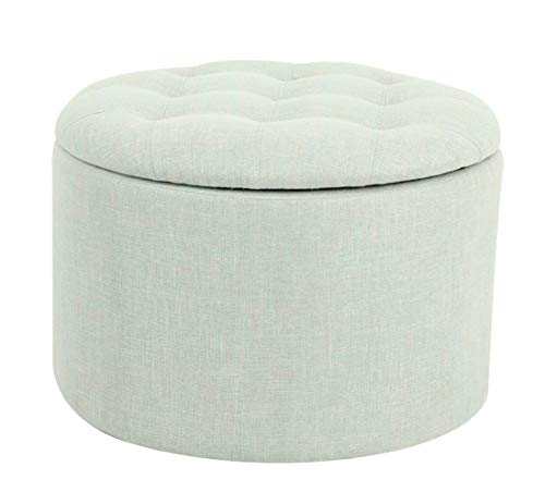 Incredible Ravenna Home Justin Round Tufted Storage Pouf Ottoman Bench 24W Seafoam Green Caraccident5 Cool Chair Designs And Ideas Caraccident5Info